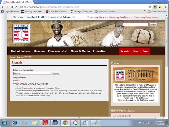 steroids at baseball HoF site